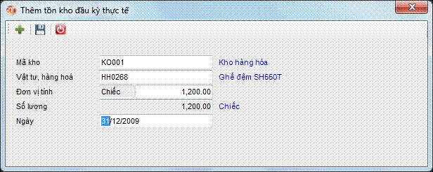 Tồn kho đầu kỳ thực tế phần mềm kế toán 3tsoft