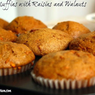 Carrot Muffins With Raisins And Walnuts.