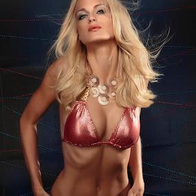 Woman in Sexy Red by Ralf Eyertt - People Fashion ( studio, blonde, sexy, woman, ralf eyertt, hot, miss germany, bikini,  )