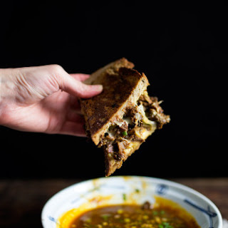 MISO STEWED SHORT-RIBS FRENCH-DIP SANDWICH.