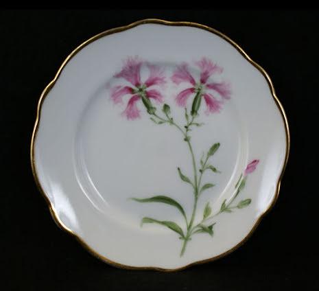 handmålade blomstermotiv Assiett 15,5 cm rosa blomma