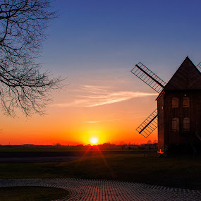 evening by Tomasz Marciniak - Landscapes Sunsets & Sunrises ( sunset, evening, windmill,  )
