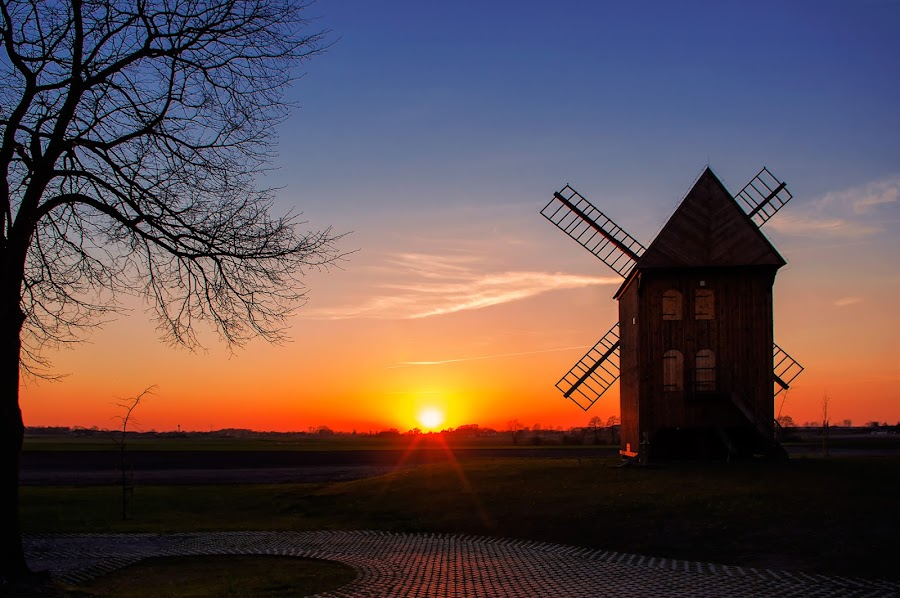 evening by Tomasz Marciniak - Landscapes Sunsets & Sunrises ( sunset, evening, windmill,  )