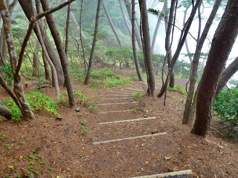 海岸へ降りる階段