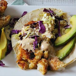Crispy Fish Tacos with Hoisin Tarter Sauce.