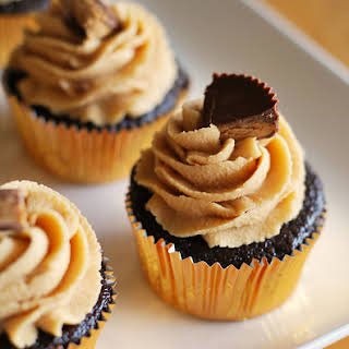 Chocolate Cupcakes with Peanut Butter Cream Cheese Frosting.