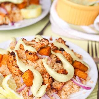 Vegan Butternut Squash and Cauliflower Quinoa with Avocado Tahini Drizzle {GF}