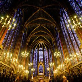 St. Chapelle Paris by Dee Zunker - Landscapes Travel ( paris, st. chapelle, france, building, interior, worship )