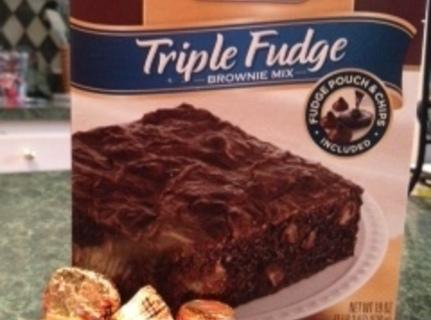 Prepare brownie mix according to package directions. *The Triple Fudge mix calls for 1 egg,...