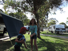 Photo: a game of soccer at our caravan park