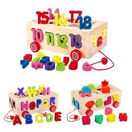 Cutie din lemn cu litere pentru sortat, Beilaluna