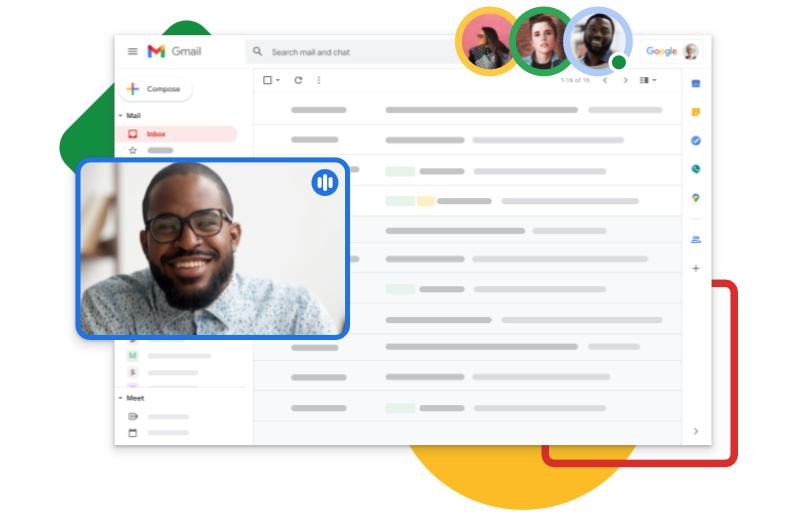 Google Meet video call from inside of Gmail inbox