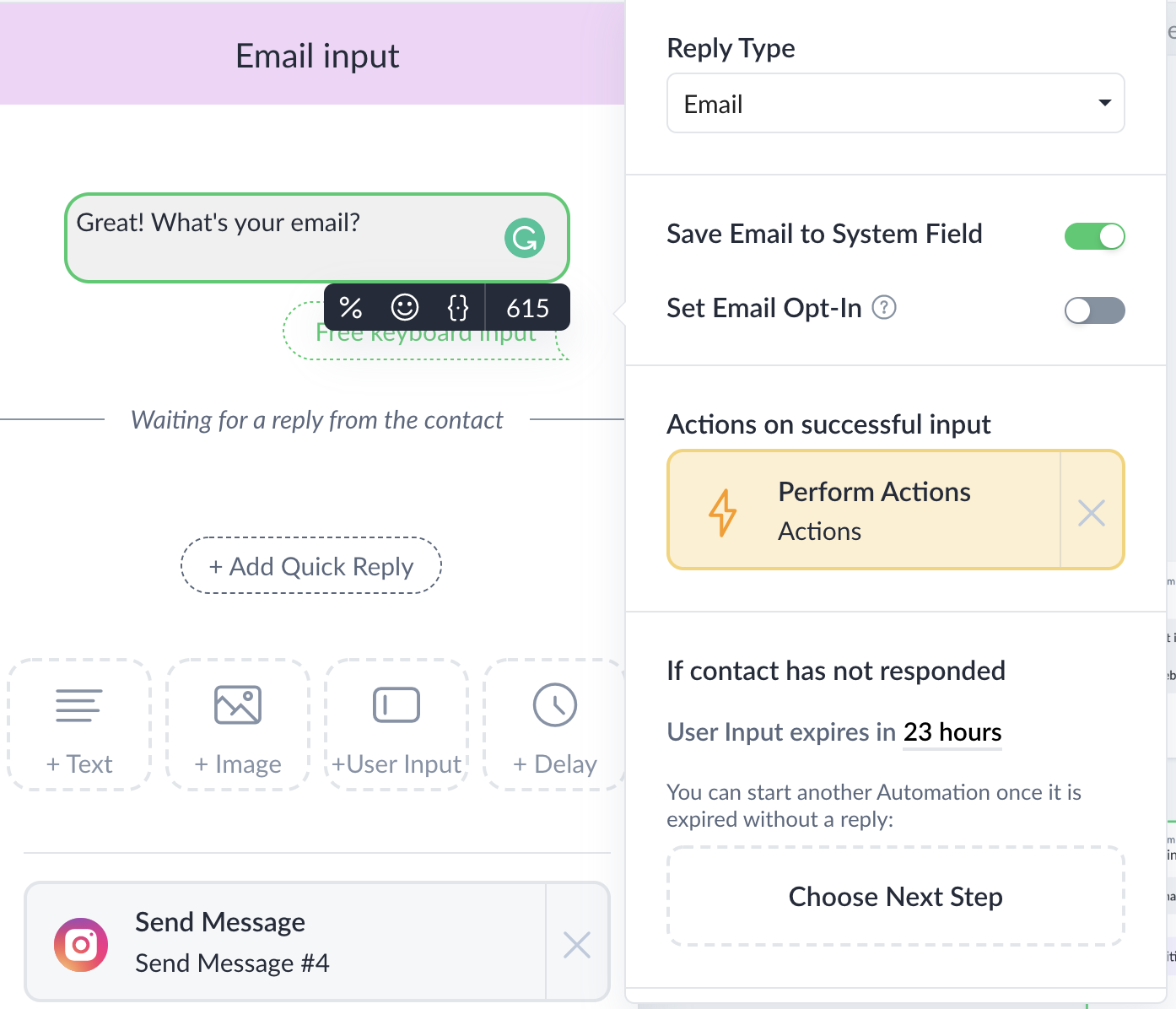save email to custom field