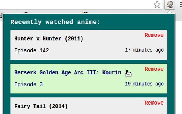 Anime episode tracker