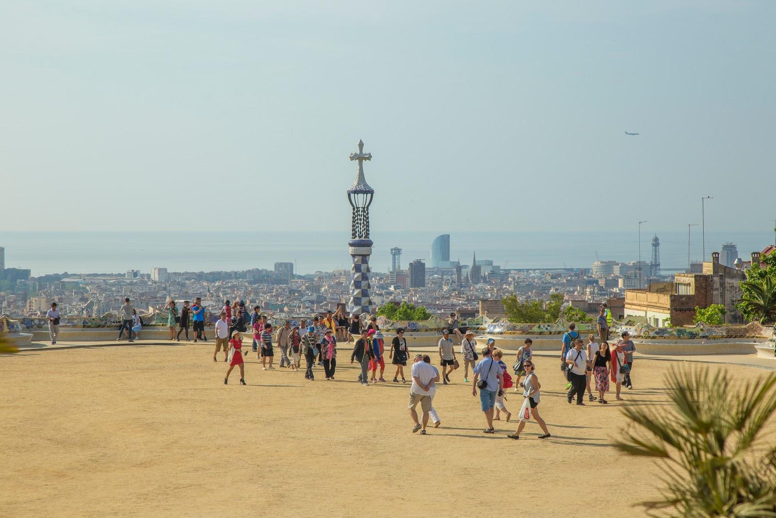 A view across the Greek Theater/Plaça de la Natura, offers beautiful views over the Barcelona skyline.