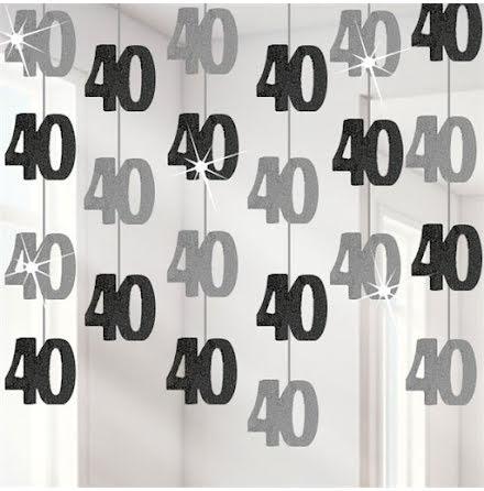 Hängande dekorationer - Svart & Silver 40