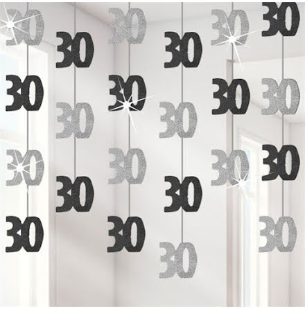 Hängande dekorationer - Svart & Silver 30