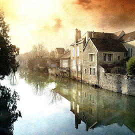 The House By The River by Bjørn Borge-Lunde - Digital Art Places ( houses, park, village, riverside, sunset, trees, cityscape, skies, river )