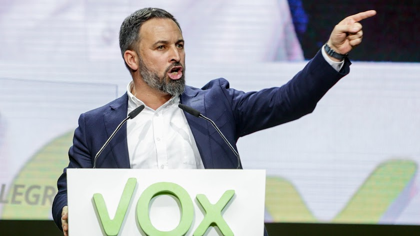 Santiago Abascal, durante un acto celebrado en Vistalegre.