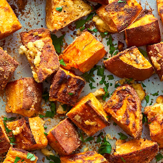 Garlicky Parmesan Sweet Potatoes.