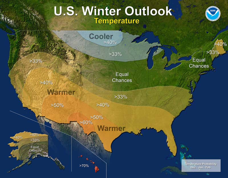 Winter 2016 - 2017 temperature outlook. Click for larger view. (NOAA)