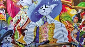 Detalle de las marionetas de Venecia, una de las obras de Miguel Ibarra Marín expuestas en la EMMA hasta el 29 de abril.