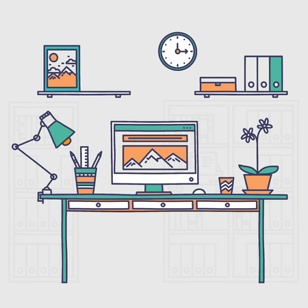 A desk with multiple work items on it, showing how visual collaboration is possible from your desk or anywhere.