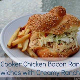 Slow Cooker Chicken Bacon Ranch Sandwiches with Creamy Ranch Slaw