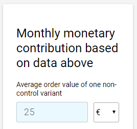 Monthly monetary contribution in ab test calculator by ConversionXL