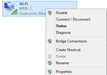 wi-fi network connection type in windows