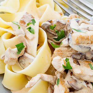 Pork Stroganoff with Buttered Noodles.