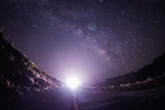 """Photo: Here's another photo from my stargazing here in Big Sur over the past few nights. I saw only a few shooting stars during the big event. It was a little disappointing... but, then again, most shooting star photos look like airplanes or are just kinda disappointing. I don't even know how to make it look interesting. Even a good shooting star photo you could say was an airplane... I guess if you """"say"""" it is a shooting star, then that gives it a little bit of a story and some context... and I guess I COULD photoshop in a shooting star, but that feels a bit cheeky..."""