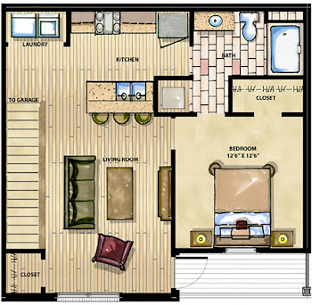 Go to One Bed, One Bath B Floorplan page.