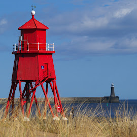 Red Groyne by SJ Burnell - Novices Only Landscapes ( red, groyne, harbour, pier, lighthouse, beach, sea )