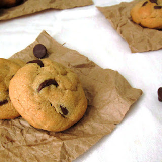 Chewy Peanut Butter Cookies with Dark Chocolate Chips.