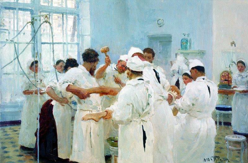 Хирург Е.В.Павлов в операционном зале. 1888. Государственная Третьяковская галерея.