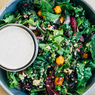 Chopped Kale + Kraut Salad w/ Millet + Sunflower Ranch Dressing