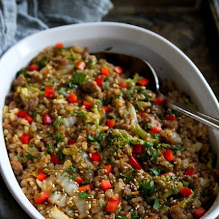 Teriyaki Turkey, Rice and Vegetable Casserole.