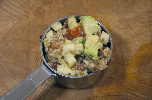 Take 1/2 cup of the avocado/apple mixture and add to a plate.
