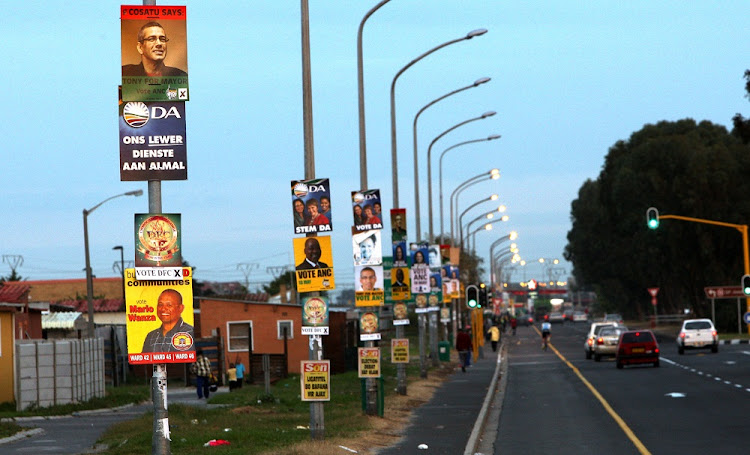 Political party posters are displayed on lamposts in the Western Cape. Picture: SUNDAY TIMES