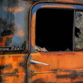 Town Panel by Sandy Considine - Transportation Automobiles ( car, junkyard, rusty )
