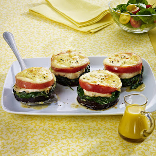 Chicken, Eggplant, Spinach and Mozzarella Stacks.