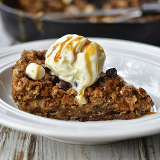 Oatmeal Caramel Skillet Cookie with Marshmallow and Chocolate {Gluten Free Option}