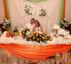 Photo: Kompozycja z żywych kwiatów na stół Pary Młodej oraz bukiet ślubny Sala - Krościenko Wyżne