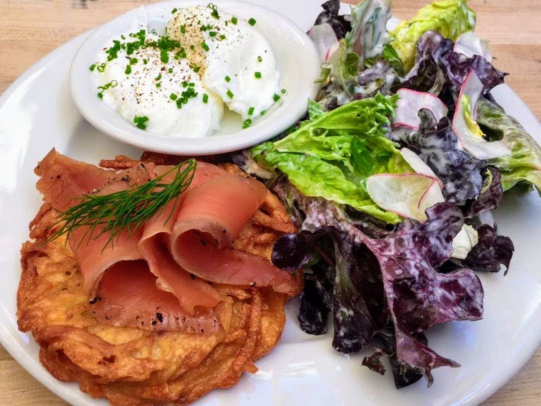 Brunch dish of Housemade Gravlax, Poached Egg, Potato Cake, with a Salad of Butter Lettuce with French Breakfast Radish, Scallion and Dill Dressing at Radar Restaurant on North Mississippi, Portland