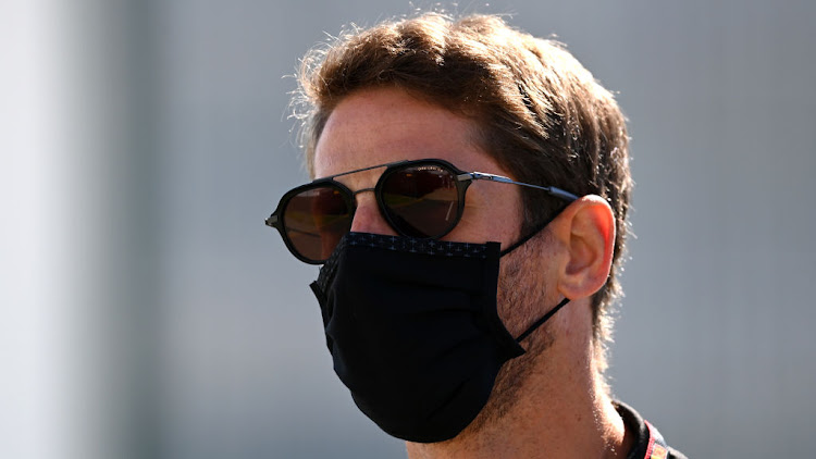 Romain Grosjean of France and Haas F1 looks on in the paddock on Thursday ahead of the F1 Grand Prix of Great Britain at Silverstone on Sunday.