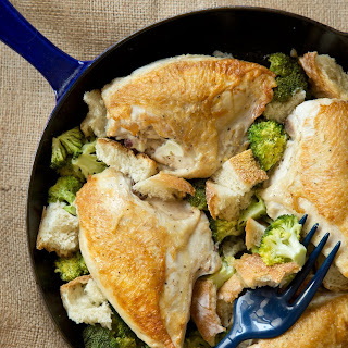 One-Skillet Chicken with Garlicky Broccoli and Croutons