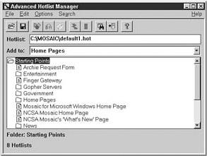 NCSA Mosaic Advanced Hotlist Manager
