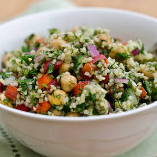 Bulgur Salad with Cucumbers, Red Peppers, Chick Peas, Lemon and Dill.