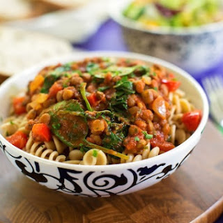 Pasta with Hearty Lentil and Spinach Sauce.